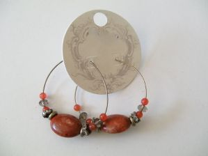 Pair of hoop and bead drop earrings - ex high street - original retail price £10 (Code 0216)